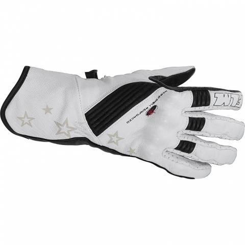 FLM dámské kožené rukavice na motorku bílé