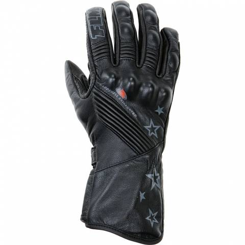 FLM Tech dámské kožené rukavice na motorku černé