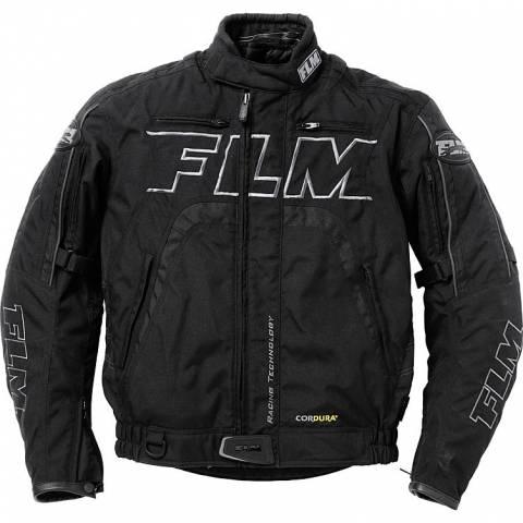 FLM luxusní certifikovaná textilní bunda černá na motorku - Cordura s chrániči