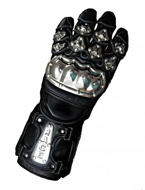 Kožené rukavice na motorku STEEL Racing s kovovým chráničem