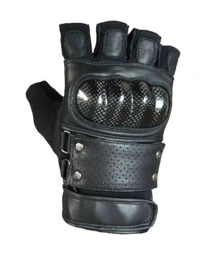 Kožené rukavice na motorku chopper bez prstů s karbonovým chráničem