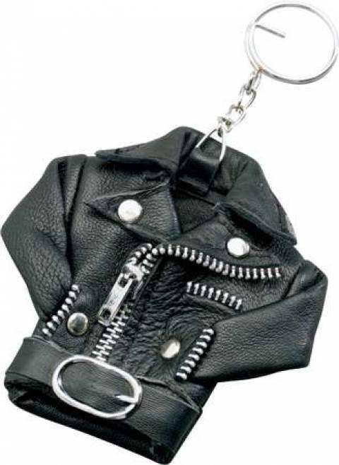 Přívěšek na klíče kožená bunda křivák
