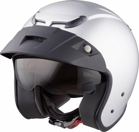 MTR Jet helma na motorku nebo skútr stříbrná s clonou